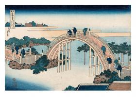 Drum Bridge of Kameido Tenjin Shrine by Katsushika Hokusai